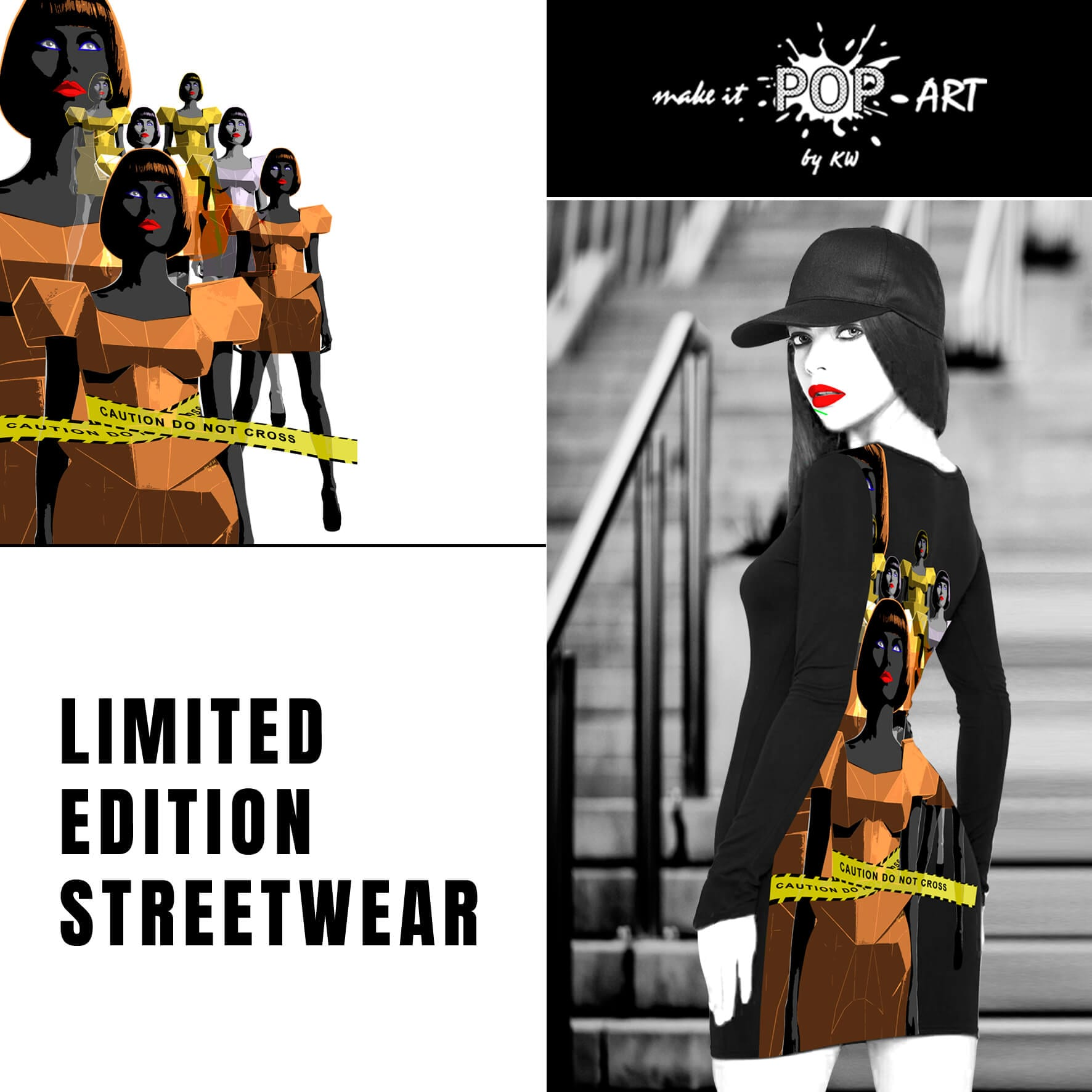 make it pop art limited edition streetwear Fitted Long Sleeve Dress Caution