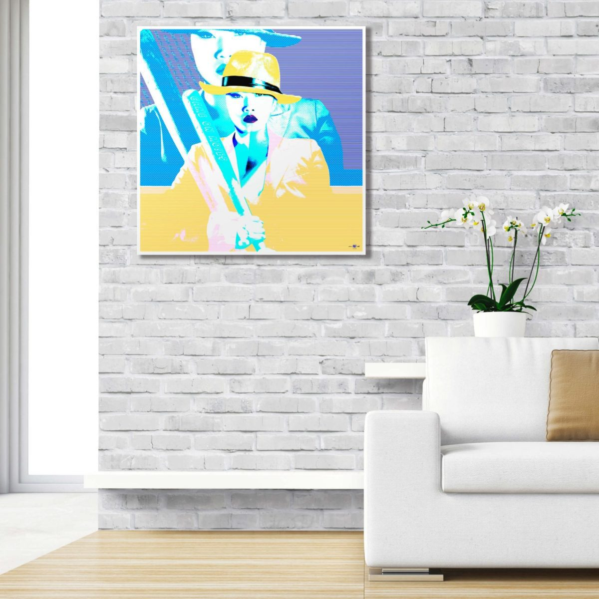 pop art original modern large wall art limited edition Game On Yellow interior decorating styling
